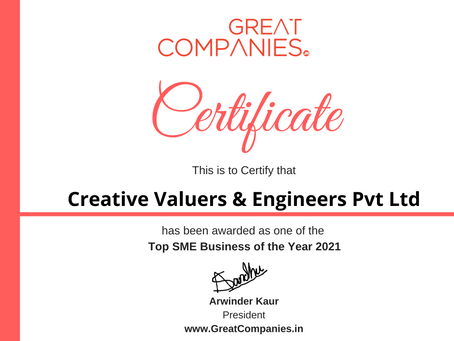 Creative Valuers & Engineers Pvt Ltd, Great Companies SME Business of the Year Award Winner 2021