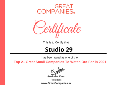 Studio29 - Great Small Companies To Watch Out For in 2021