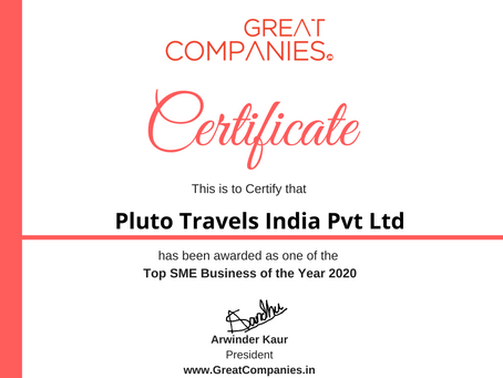 Pluto Travels India Pvt Ltd, Great Companies SME Business of the Year Award Winner 2020