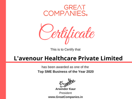 L'avenour Healthcare Private Limited, Great Companies SME Business of the Year Award Winner 2020