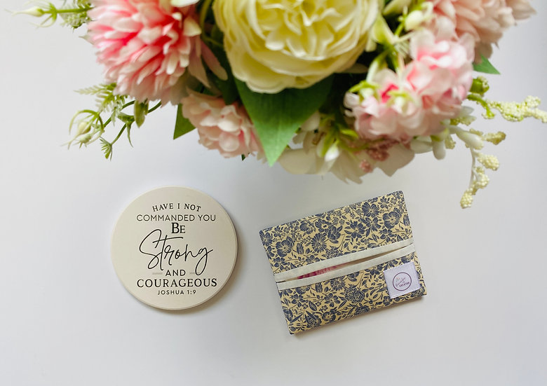 Grey Flowers Tissue Pouch (TP-B003-3)