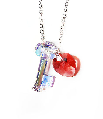 Swarovski Key and Heart crystal necklace