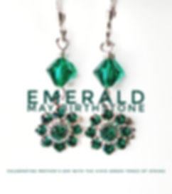 Emerald Birthstone Swarovski earrings