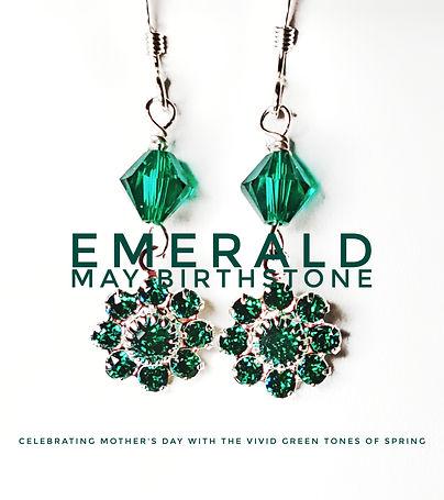 Emerald Birthstone Swarovski earrings