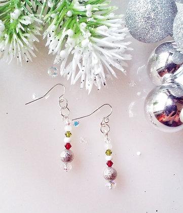Christmas Silver Dust Drop Earrings CSW002