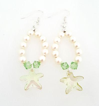 Starfish Drop pearl earrings