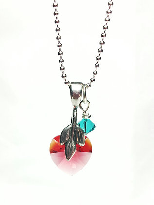 Exotic Swarovski Heart Birthstone necklace