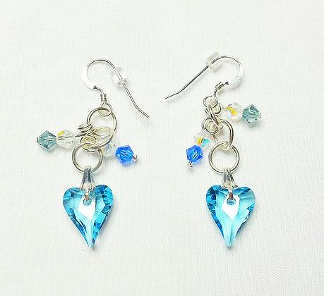 Blue Wild Heart earrings
