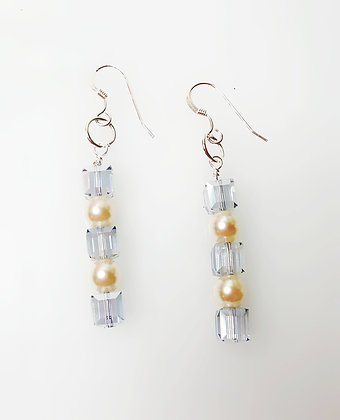 Frosty Winter cube drop earring