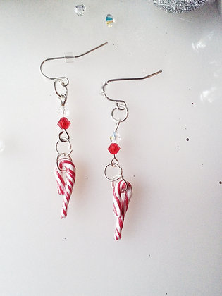 Candy Cane Drop earrings with Swarovski Crystals