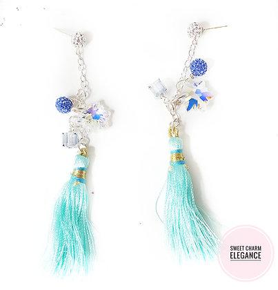 Snowflake Tassel stud earring