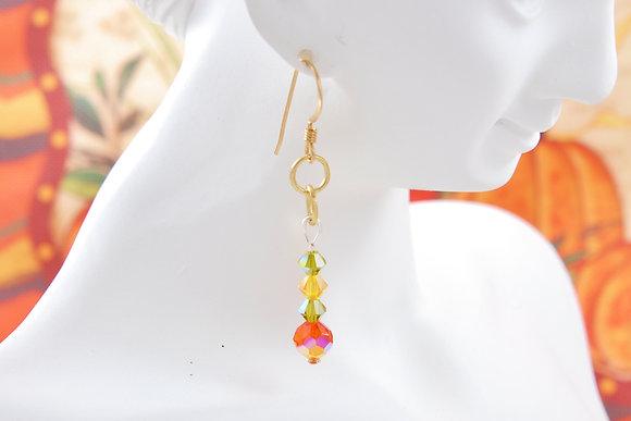12 KT Gold Swarovski Earrings Fall-inspired SW9015