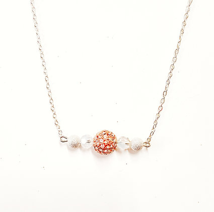Rose Colored Bead Bar Necklace