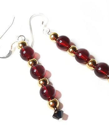 Swarovski© red/gold dangle earrings *set option
