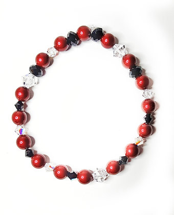 Swarovski© designer red/black stretch bracelet