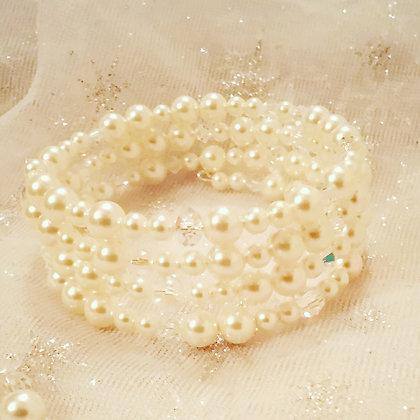 Swarovski White Cream Wrap Bracelet-Pearl/Crystal