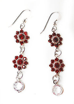 Red Sparkle Flower Sparkle Earrings