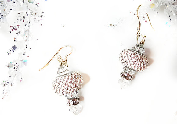 Snow White Pave crystal bead earring