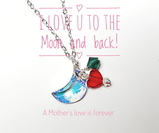 Swarovski Mother's Day Necklace with moon and birthsone