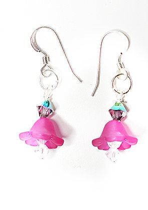 Pink Frosted Petal Drop Earrings