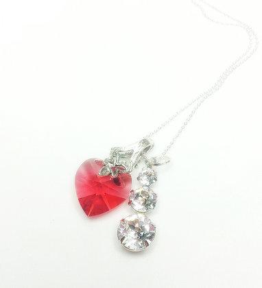 Exotic Lotus Love Heart Crystal Pendant
