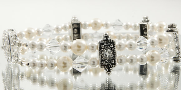 Antique Pearl and crystal bracelet
