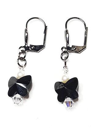 Butterfly jet earrings