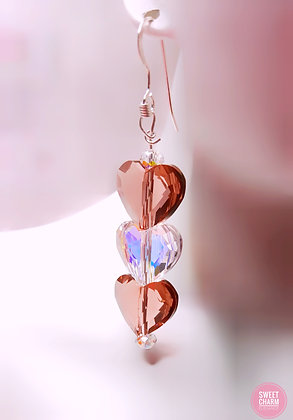 Pink Heart LOVE dangle earrings
