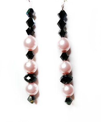Black and pink blush dangle earrings