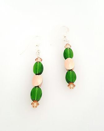 SW Rose Gold and Green Leaf earrings