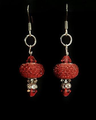 ROCK GLAMOUR Fiery Red Sparkle Earrings