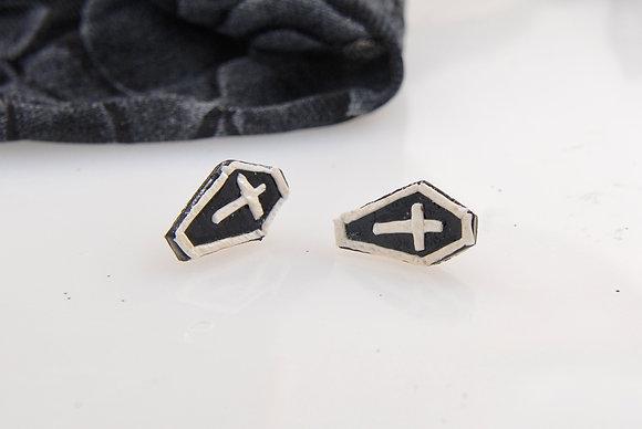 White Lined Black Coffin Stud Earrings WL1003