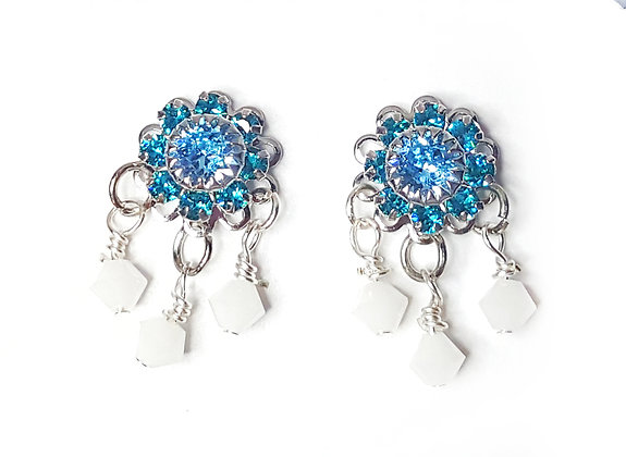 Blue Snow White Stud Earrings