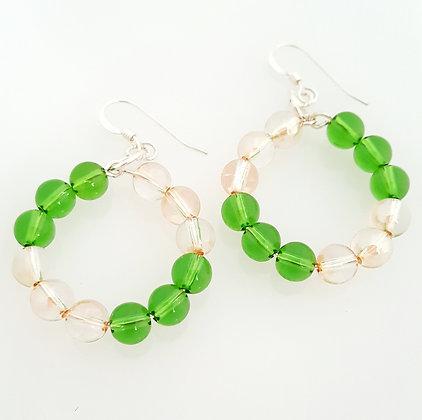 Fern Green and Golden shadow earrings