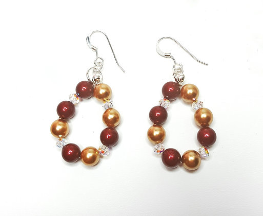 SW Bourdeaux and Gold hoop earrings