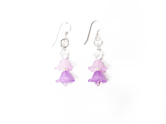 Violet Frosted Petal Drop Earrings