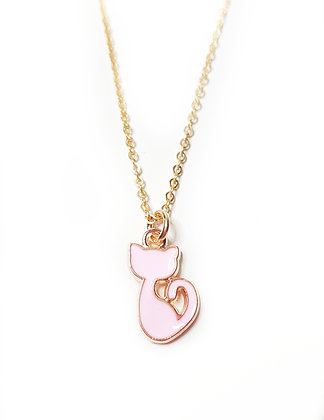 Sweet Pink Kitty Necklace