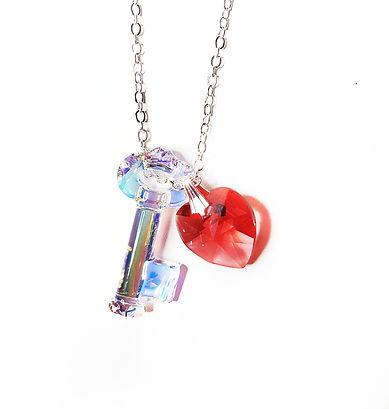 Key and Heart Swarovski necklace