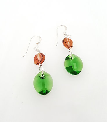 Swarovski© Green Leaf Drop earrings