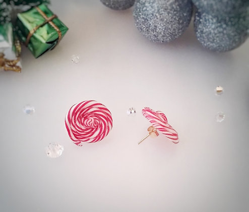 Candy Cane Lollipop stud gold earrings CCL001
