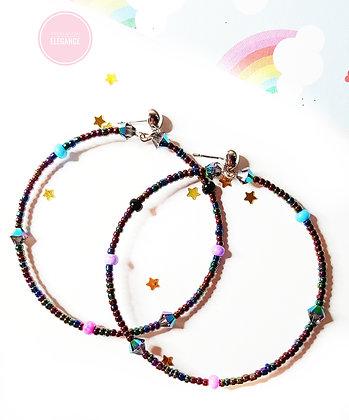 Rainbow Purple hoop earrings