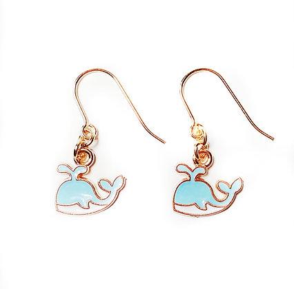 Blue Petite Whale Earrings