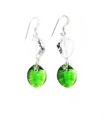 Green Leaf Crystal Earrings