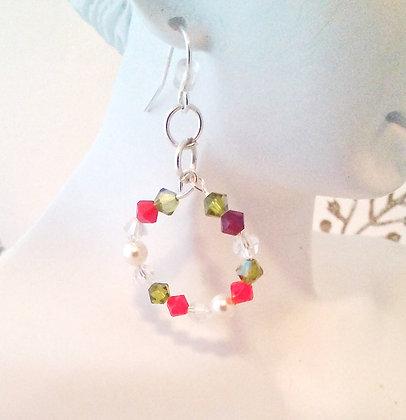 Christmas Swarovksi Crystal Hoop earrings CS001