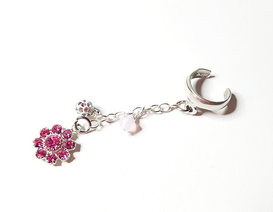 Pink Flower ear cuff