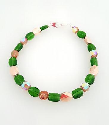 Rose Gold/Green Leaf Bracelet