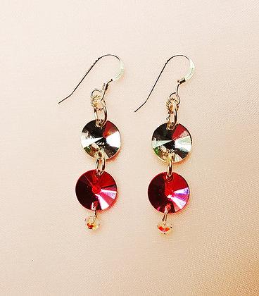 Hot White/Pink Swarovski Rivoli earring