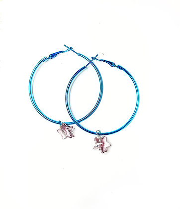 Electric Blue Fashion Hoop Earrings