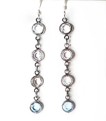 Crystal white & blue link drop earrings