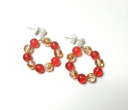 SW Metallic Sunshine and Red Siam hoop earrings